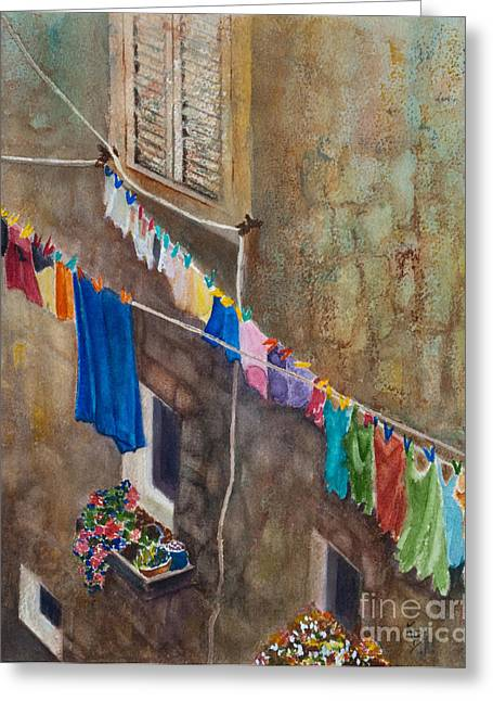 Drying Laundry Greeting Cards - Drying Time Greeting Card by Karen Fleschler