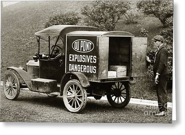 Anthracite Greeting Cards - Du Pont Co. Explosives Truck Pennsylvania Coal Fields 1916 Greeting Card by Arthur Miller