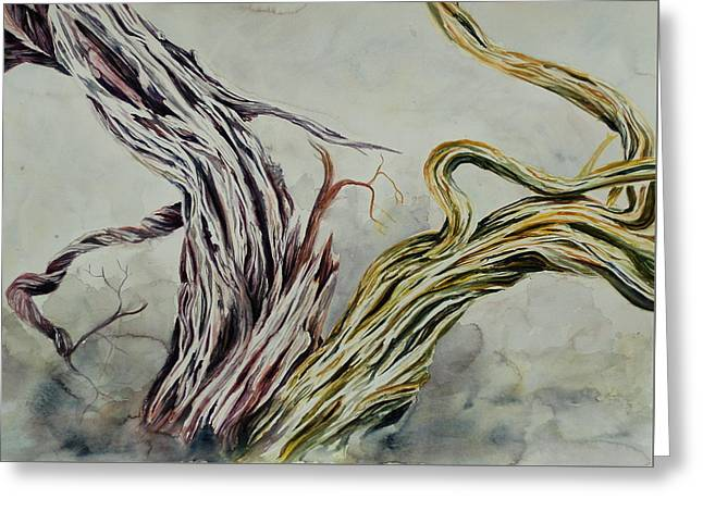 Tree Roots Paintings Greeting Cards - Dual Branches Greeting Card by Kimberlee Trowbridge