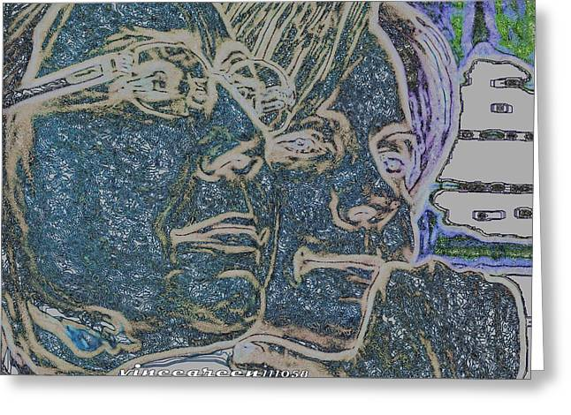 Absorb Digital Art Greeting Cards - Dual Intensity - Study in Blue Greeting Card by Vince Green
