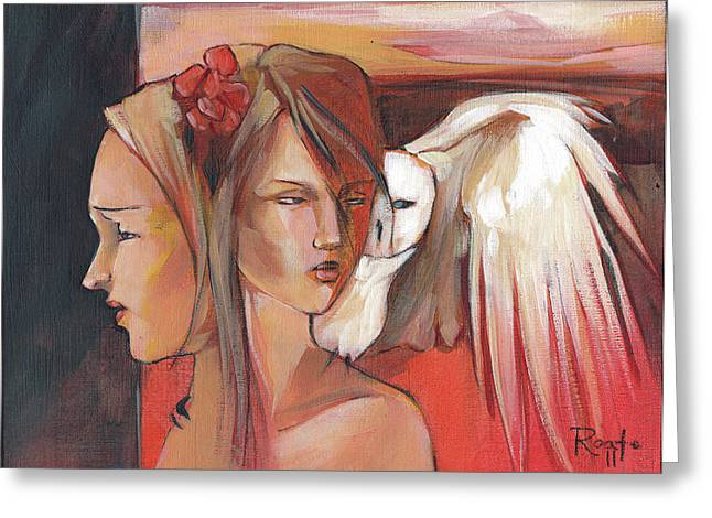 Two Faces Greeting Cards - Duality Greeting Card by Jacque Hudson