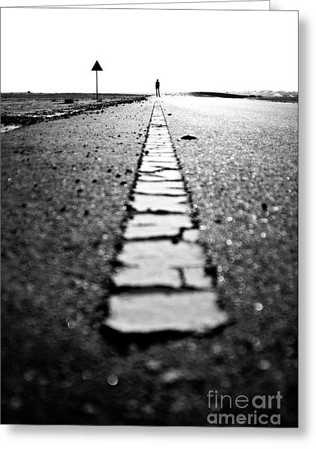 Dubai Ghost Road, Yellow Line, Roller  Greeting Card by David GABIS