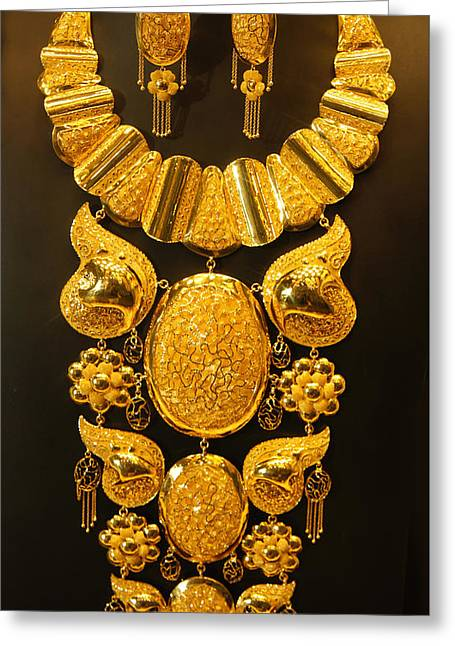 Gold Necklace Greeting Cards - Dubai Gold Jewelry Greeting Card by Sheela Ajith