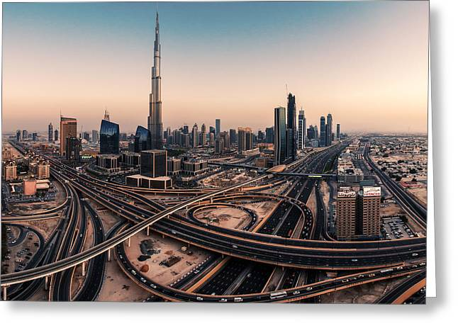 Dubai Skyline Panorama Greeting Card by Jean Claude Castor