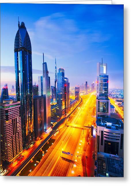 Ultra Modern Photographs Greeting Cards - Dubai Sunrise Greeting Card by Andre Distel