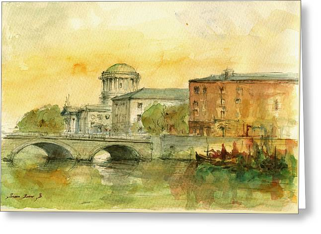 Dublin Greeting Cards - Dublin cityscape Greeting Card by Juan  Bosco