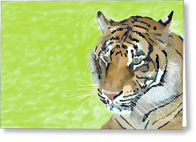 The Tiger Drawings Greeting Cards - Dublin Tiger Greeting Card by Paul Maher