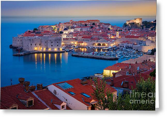 Croatia Greeting Cards - Dubronvik Dawn Greeting Card by Inge Johnsson