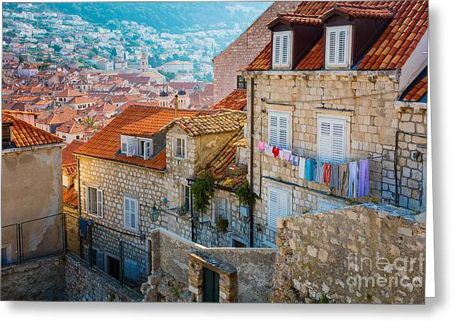Harbour Wall Greeting Cards - Dubrovnik Clothesline Greeting Card by Inge Johnsson