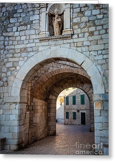 Brick Buildings Greeting Cards - Dubrovnik Entrance Greeting Card by Inge Johnsson