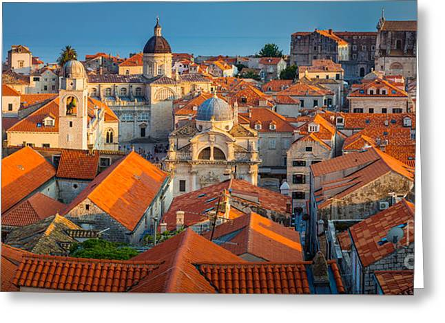 Brick Buildings Greeting Cards - Dubrovnik Panorama Greeting Card by Inge Johnsson
