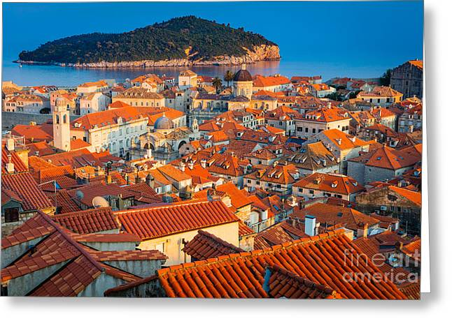 Dalmatian Greeting Cards - Dubrovnik Rooftops Greeting Card by Inge Johnsson