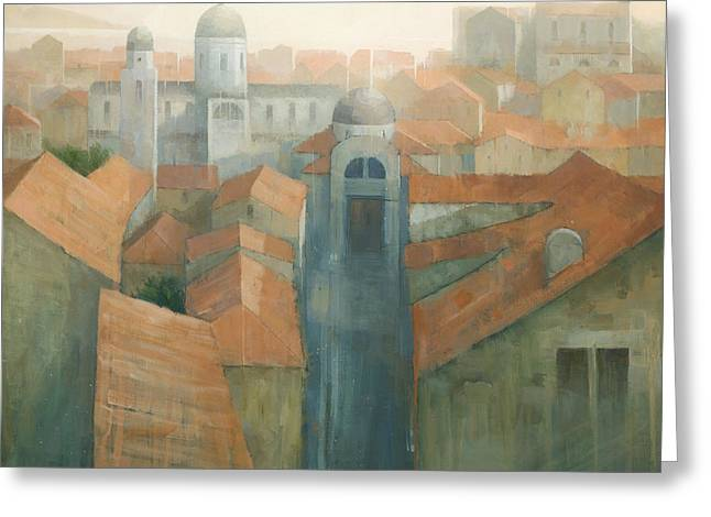 Croatia Greeting Cards - Dubrovnik Rooftops Greeting Card by Steve Mitchell