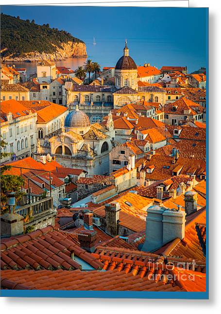 Brick Buildings Greeting Cards - Dubrovnik Sunset Greeting Card by Inge Johnsson
