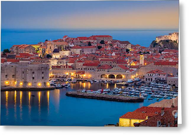 Dubrovnik Twilight Panorama Greeting Card by Inge Johnsson