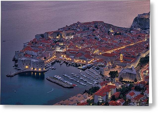 Ocean Panorama Greeting Cards - Dubrovnik Twilight Greeting Card by Stuart Litoff