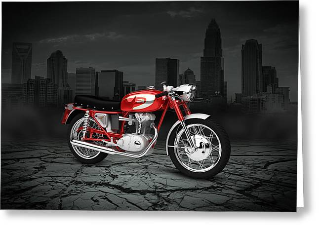 Mach 1 Greeting Cards - Ducati 250 Mach 1 1964 City Greeting Card by Aged Pixel