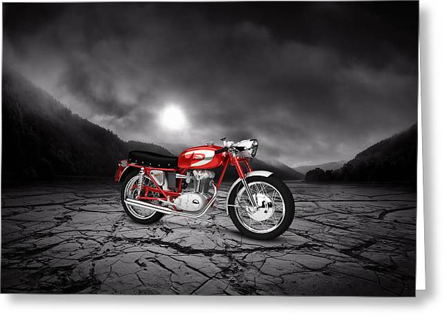 Mach Digital Art Greeting Cards - Ducati 250 Mach 1 1964  Mountains Greeting Card by Aged Pixel
