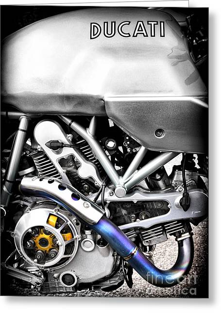 Abstract Style Greeting Cards - Ducati PS1000LE Engine Greeting Card by Tim Gainey