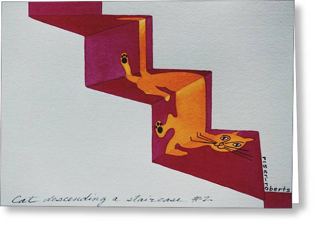 Best Sellers -  - Pictures Of Cats Greeting Cards - Duchamps Cat Descending a Staircase  No. 2 Greeting Card by Eve Riser Roberts