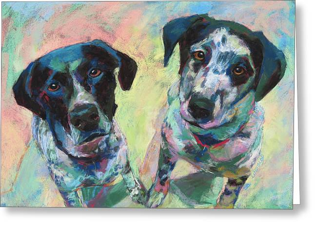 Duchess Pastels Greeting Cards - Duchess and Domino Greeting Card by Sandy  Lindblad