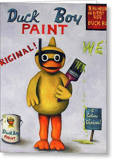 Snorkel Greeting Cards - Duck Boy Greeting Card by Leah Saulnier The Painting Maniac