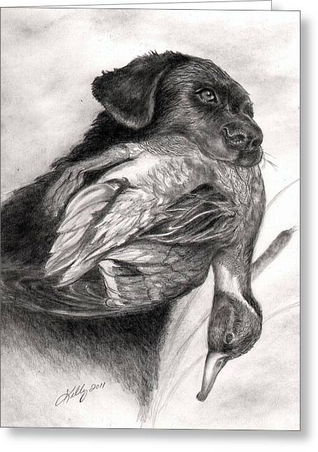 Dog Pencil Greeting Cards - Duck Season Greeting Card by Kathleen Kelly Thompson