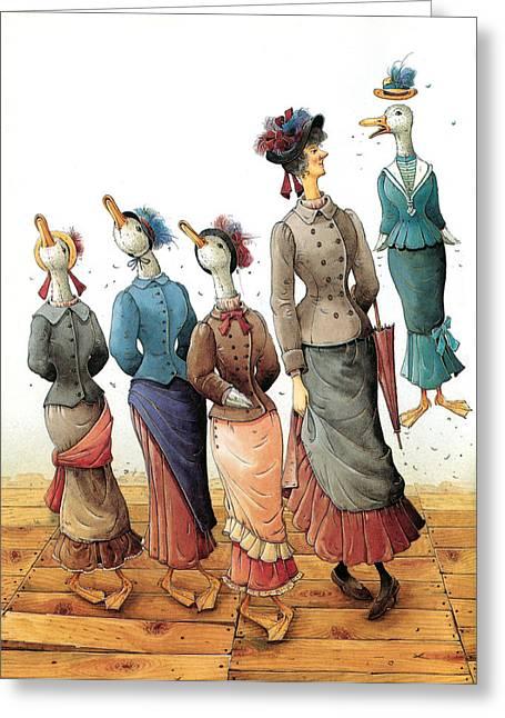 Ducks Dance Greeting Card by Kestutis Kasparavicius