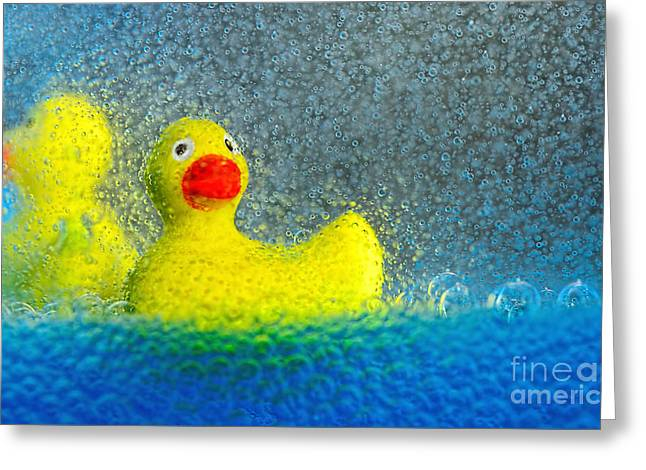 Rubber Ducky Greeting Cards - Ducks in the Tub by Kaye Menner Greeting Card by Kaye Menner