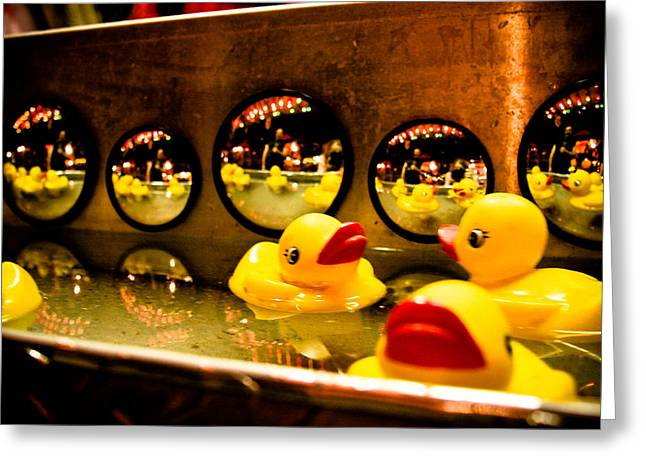Rubber Ducky Greeting Cards - Ducky reflections Greeting Card by Toni Hopper