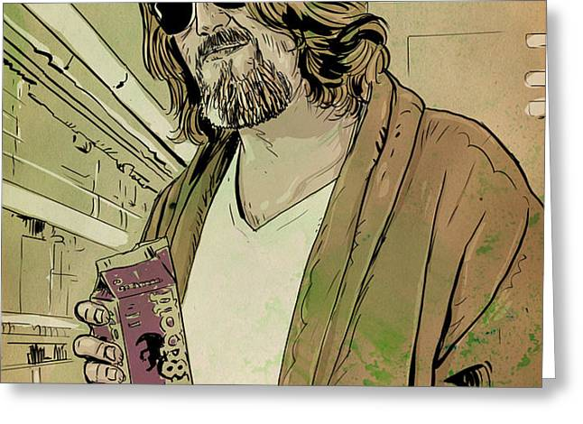 Dude Lebowski Greeting Card by Giuseppe Cristiano