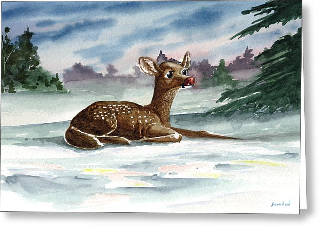 Rudolf Greeting Cards - Dudolf The Red Nosed Reindeer Greeting Card by Sean Seal
