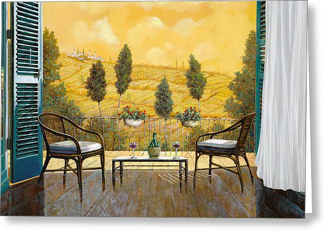 due bicchieri di Chianti Greeting Card by Guido Borelli