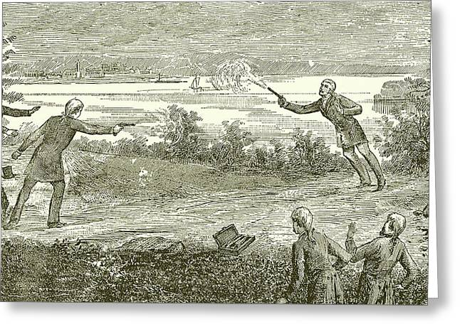 Duel Between Alexander Hamilton And Aaron Burr Greeting Card by American School