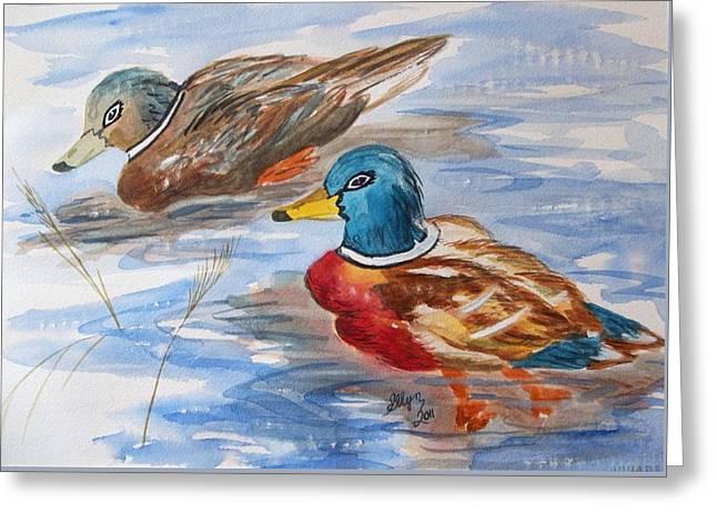 Water Fowl Greeting Cards - Mallard Duet Greeting Card by Ellen Levinson