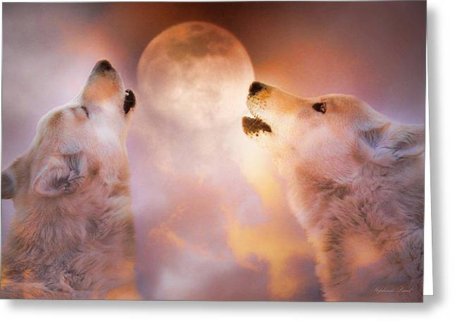 Wolf Moon Greeting Cards - Duet Greeting Card by Stephanie Laird