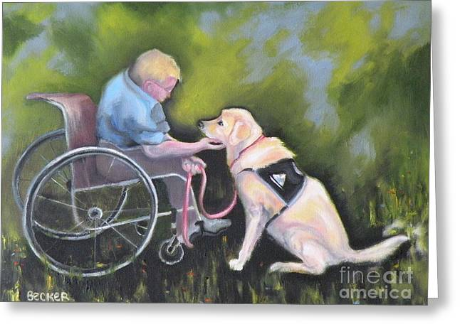 Labs Drawings Greeting Cards - Duet Greeting Card by Susan A Becker