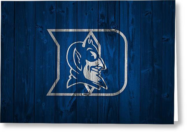 D Wade Greeting Cards - Duke Blue Devils Barn Door Greeting Card by Dan Sproul
