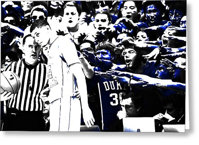 Duke Blue Devils Crazies Greeting Card by Brian Reaves