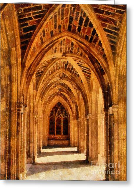 Duke Greeting Cards - Duke Chapel Greeting Card by Betsy Foster Breen