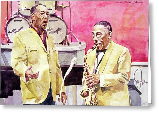 Featured Portraits Greeting Cards - Duke Ellington and Johnny Hodges Greeting Card by David Lloyd Glover