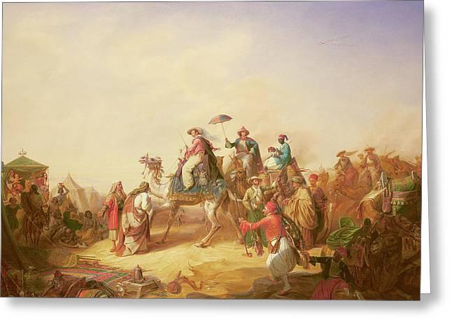 Duke Ernest Of Saxe Cobourg Gotha's Tour To Egypt Greeting Card by Robert Kretzchmar