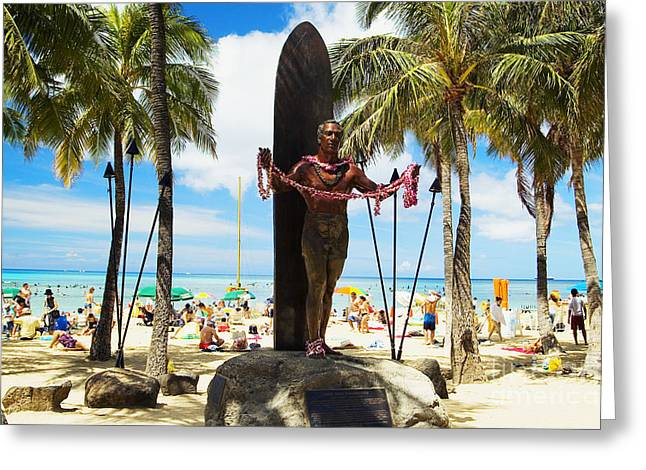 Beachboy Greeting Cards - Duke Kahanamoku statue Greeting Card by Mary Van de Ven - Printscapes