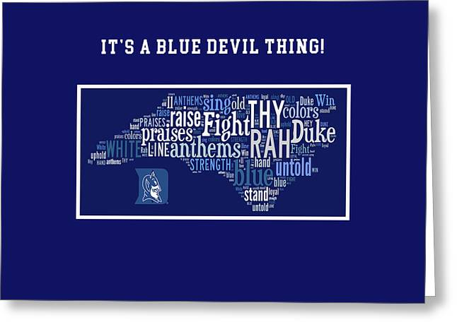 Duke University Blue And White Products Greeting Card by Paulette B Wright