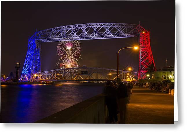Pyrotechnics Greeting Cards - Duluth Lift Bridge Fireworks 2 Greeting Card by John Brueske