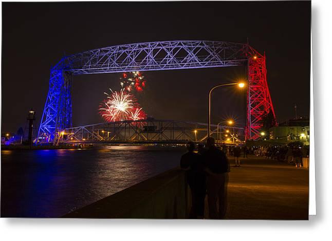 Pyrotechnics Greeting Cards - Duluth Lift Bridge Fireworks 3 Greeting Card by John Brueske