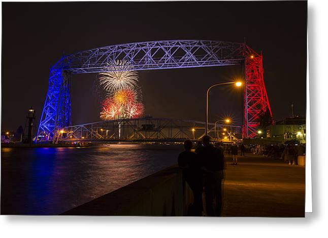 Pyrotechnics Greeting Cards - Duluth Lift Bridge Fireworks 4 Greeting Card by John Brueske