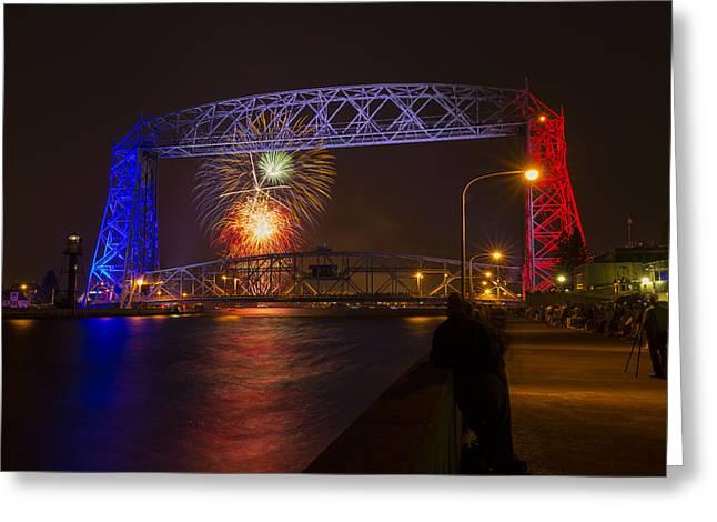 Pyrotechnics Greeting Cards - Duluth Lift Bridge Fireworks 7 Greeting Card by John Brueske