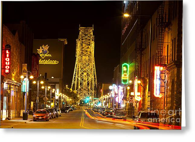 Old Roadway Greeting Cards - Duluth Nightlife Greeting Card by Anthony Totah