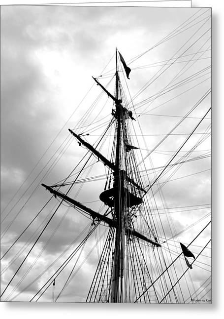 Duluth Tall Ships-black And White Greeting Card by Kathy Krause